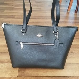 Coach Leather Gallery Tote Black / Silver